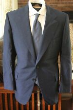 CHESTER BARRIE BESPOKE CUSTOM SAVILE ROW BLUE DENIM CHAMBRAY SUIT SILK WOOL FLAT