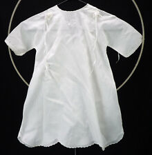 Vintage Fine Cotton Floral Embroidered Ribbons Baby Christening Gown Dress
