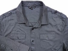 EXPRESS MENS XL CASUAL MILITARY SPORT SHIRT STYLISH CHARCOAL GREY PIN STRIPE LUX