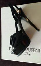 YSL Yves Saint Laurent Black Leather Tribute Y-Bow Platform Sandals Sz 36 US 6