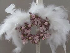 SHABBY CHIC VICTORIAN WREATH CHRISTMAS ORNAMENT Pink Roses Angel Wing Feathers
