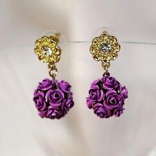 Boucles d`Oreilles Fleur Violette Ronde Retro Ancien Style Mariage Cadeau DD 3