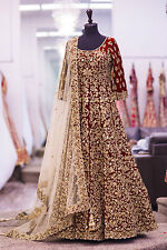Bridal Long Indian Designer Pakistani Bollywood Party Wear Wedding Dress GOWN 4