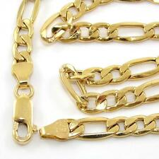 "Milor Solid 14K Yellow Gold Figaro Chain Link Necklace 22.5"" 5mm QR"