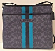 NWT Coach 38402 Varsity Stripe File Bag Coated Canvas handbag Denim / Black