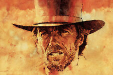 A4 Vintage Style Clint Eastwood Poster (Blu-Ray DVD Western Outlaw Movie Film)