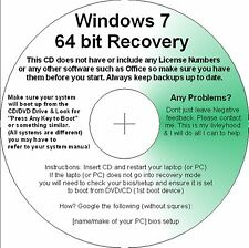 Windows 7 64 Bits recuperación reparación Restauración De Boot Cd de prima de base Pro & Ultimate