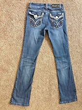 LA Idol Womens Size 3 or 28 x 34 Flap Pocket Studded Boot Cut Jeans Pants