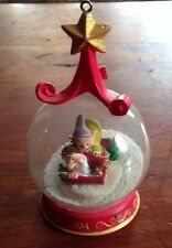 DISNEY GRUMPY AND DOPEY CHRISTMAS SNOW GLOBE ORNAMENT SLEDDING FROM 2004