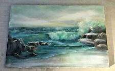 Large Vtg Oil/Acrylic Painting Seascape Shabby Cottage