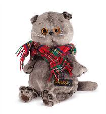 Plüschtier Katze mit Schal Basik Scottish Fold Cat Softtoy Stuffed Peluche 25 cm