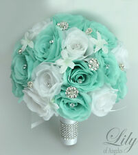 17 Piece Package Silk Flower Wedding Bridal Bouquets TIFFANY BLUE SPA POOL Robin