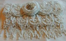 Wedding clutch bag. White lace satin . Rhinestones,pearls. Hand made.
