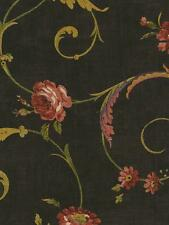 Wallpaper Designer Rose Floral Vine Scroll Red, Green, Tan, Plum on Black