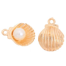 40x Gold Plated Faux Pearls Seashell Pendants Charms Fit Fashion Jewelry Craft D