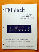 Mcintosh C27 Service Manual (Original Mcintosh Laboratory manual)