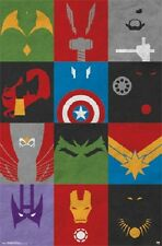 2014 SUPER HERO MARVEL COMICS AVENGERS MINIMALIST ART DECO POSTER  NEW 22x34