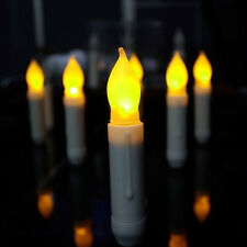 12pcs/Set Flameless Ivory Mini Wax Dipped Flickering Amber Led Taper Candles US
