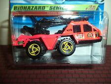 HOT WHEELS FLAME STOPPER BIOHAZARD SERIES 2/4 NEW ON CARD DAY-GLO PINK CT/B TIRE