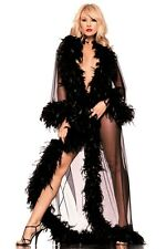 BE WICKED EXOTIC FEATHERS SHEER PEIGNOIR COAT (THE GLAMOR ROBE)