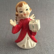 """Japan Christmas Angel Figurine With Gift Vintage 3 1/2"""" Red Robes Gold Stars"""