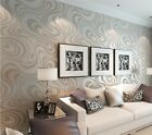 Abstract Curve Modern Luxury 3D Flocking Striped Wallpaper Cream&silver 5.88㎡