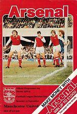 Football Programme ARSENAL v MAN UTD Sept 1978