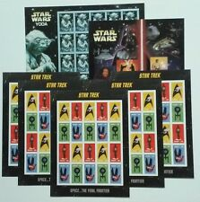 NEW 5 Sheets of STAR TREK Forever stamps & 2 Sheets of STAR WARS Saga Yoda Combo