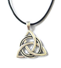 Antique Silver Plated Celtic Irish Triquetra Trinity Knot Pendant Necklace