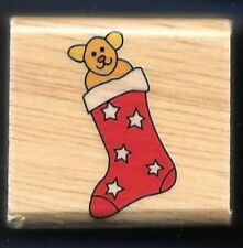 STOCKING TEDDY BEAR TOY Christmas HOLIDAY GIFT Tag small NEW Craft RUBBER STAMP