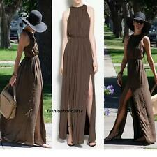 STUNNING ZARA GRECIAN BROWN LONG  MAXI DRESS! EXCLUSIVE ! SIZE SMALL S NEW
