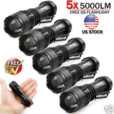 5pcs Lot 5000LM CREE Q5 LED AA/14500 ZOOMABLE Tactical Flashlight Torch Lamp Set