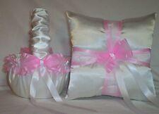 WHITE SATIN / LIGHT PINK TRIM FLOWER GIRL BASKET & RING BEARER PILLOW #3