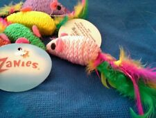 Zanies Corded Mice with Feather Tails & Rattle Cat Toy. Lot of 3.