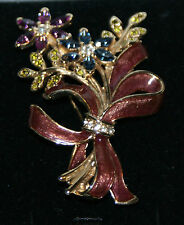 Vintage Monet Gold Tone Enamel and Rhinestone Floral Brooch