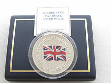 2001 Union Jack 200th Anniversary Britannia Silver Proof 5oz Medal Box Coa