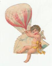 Oblaten Glanzbild  scrap die cut chromo/ Engel mit Ballon  sehr schön geprägt