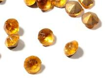 Lot (170) 6mm Czech antique vtg gold foil round faceted topaz glass rhinestones