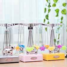 Creative Fly Airplane Carousel Music Box w/ Light Desk Decor Kids Toy Xmas Gift