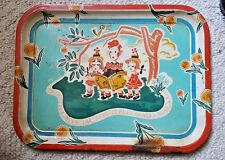 Vintage tin serving tray PEPSI COLA Hits the Spot-children singing & bottle caps