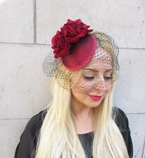 Burgundy Red Black Rose Birdcage Veil Flower Fascinator Races Headpiece Hat 2407