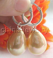 E4705-20mm natural gold color south sea shell pearl earring-925 silver hoop