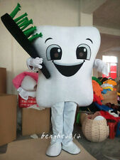 New Tooth Mascot Costume Dental Care Adult Size Halloween Fancy Dress