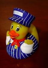 """Rare Pa Chapter-March of Dimes 2006 """"TRAIN ENGINEER"""" RUBBER DUCKY Squeak Toy"""
