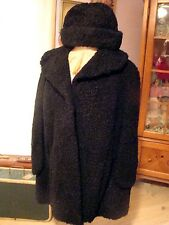sz M / XL Vintage Persian Lamb Fur Black Swing Cape Coat