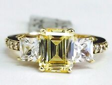 14K Yellow Gold Three Stone Emerald Cut Yellow CZ Cubic Zirconia Engagement Ring