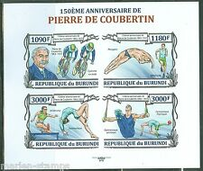 BURUNDI  2013 150th BIRTH PIERRE de  COUBERTIN OLYMPIC GAMES ORGANIZER IMPF  SHT
