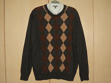 XL Lambswool Jos A Bank Granite Tan Argyle Sweater + Tie Excellent
