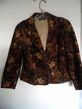 Women's Briggs New York Brown Floral corduroy blazer jacket Sz 10P
