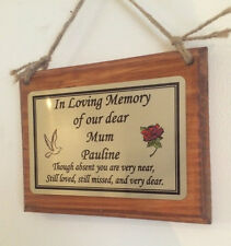 Solid Wooden Memorial Grave Marker Cremation Hanging Wall Personalised Plaque